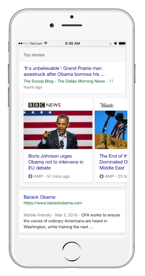 Mobile SERP showing an Accelerated Mobile Page